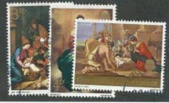 1967 SET 'CHRISTMAS -PAINTINGS ' (3v)  FINE USED