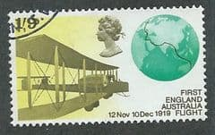 1969 1/-9d 'ANNIVERSARIES - 2ND SERIES- FIRST ENG-AUS FLIGHT' FINE USED