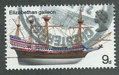 1969 9d 'BRITISH SHIPS - ELIZABETH GALLEON'  FINE USED