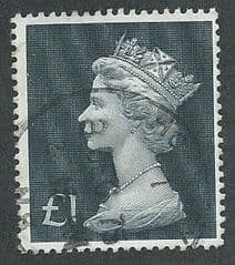 1970 £1.00 'BLUISH BLACK' MACHIN   FINE USED