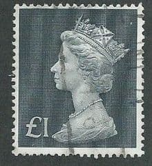 1970 £1.00 'BLUISH BLACK' MACHIN    PARCEL POSTED USED