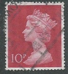 1970 10P 'CERISE' MACHIN  PARCEL POSTED USED