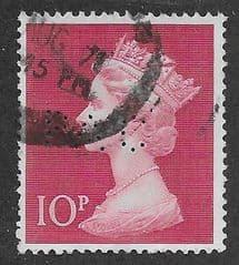 1970 10P 'CERISE' ( PERFIN P.A.C) FINE USED