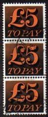 1970 3 X £5.00 'ORANGE AND BLACK' FINE USED