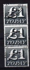 1970 BLOCK OF 3 X £1.00 BLACK FINE USED