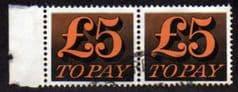 1970 PAIR OF £5.00 'ORANGE AND BLACK' FINE USED