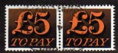 1970 PAIR OF £5.00 ' ORANGE AND BLACK' FINE USED