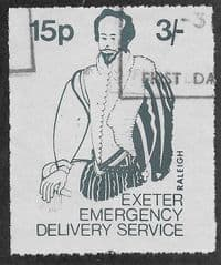 1971 15P 'EXETER STRIKE MAIL- RALEIGH' FINE USED