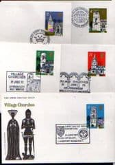 1972 'VILLAGE CHURCHES SET OF 5 DIFFERENT PMK
