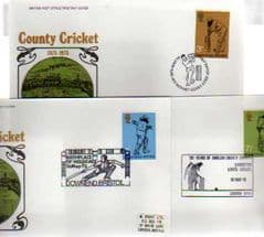 1973 CRICKET,3 APPROPIATE POSTMARKS