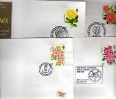 1976 'ROSES' SET OF 4 X APPROPIATE PMK