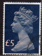 1977 £5.00 'SALMON/BLUE'  MACHIN FINE USED