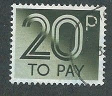 1982 20P 'OLIVE GREEN'  TO PAYS    FINE USED