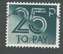 1982 25P 'DEEP GREENISH BLUE'  TO PAYS    FINE USED