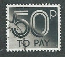 1982 50P 'GREY BLACK'  TO PAYS     FINE USED