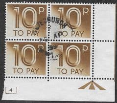1982 BLOCK OF 4 X 10P 'LIGHT BROWN'  TO PAYS (PLATE 4 MARGINS) FINE USED