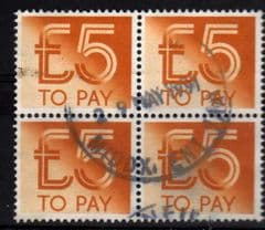 1982 BLOCK OF 4 X £5.00 TO PAYS GOOD USED