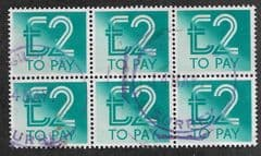 1982 BLOCK OF 6 X £2.00 'TURQUOISE'  TO PAYS  FINE USED