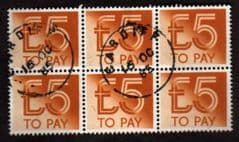 1982 BLOCK OF 6 X £5.00 TO PAYS FINE USED