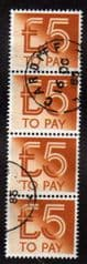 1982 STRIP OF 4 X £5.00 TO PAYS FINE USED