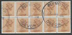 1984 BOOKLET PANE OF 10 X 13 PALE CHESTNUT' (CB) FINE USED