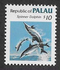 1986 U/M $10.00 PALAU - SPINNER DOLPHINS'