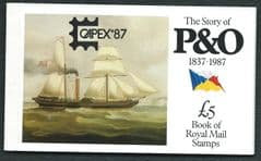 1988 £5.00 'THE STORY OF P&O' (CAPEX 87 OVERPRINT) PRESTIGE BOOKLET