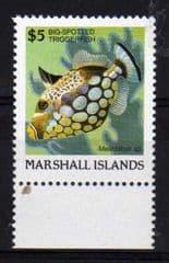 1988 U/M $5.00 MARSHALL IS 'TRIGGERFISH'
