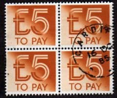 1992 BLK  OF 4 X '£5.00 TO PAYS' FINE USED