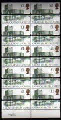 1992 BLOCK OF 10x £1 'HARRISON CASTLE' OPTD TRAINING BARS