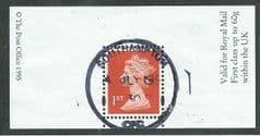 1995 1ST 'BRIGHT ORANGE RED' (2b) BOOKLET/ GREETING LABEL FINE USED