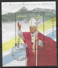 1997 1.10zt 'PAPAL VISIT TO POLAND' M/S FINE USED*