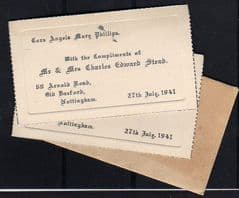 2 X 1941 COMPLIMENTS CARD + ENVELOPE