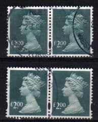 2003 2 X PAIRS OF £2.00 D.G.BLUE FINE USED