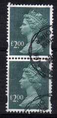 2003 PAIR OF  £2.00 D.BLUE GREEN. FINE  USED