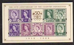 2008 U/M '50TH ANN OF COUNTRY DEFINITIVES' M/S