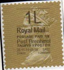 2010 '1L' 'POST BRENHINOL '(HYPHEN SEPERATED DATE)GOLD TYPE I LABEL