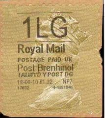 2010 1LG' POST BRENHINOL GOLD TYPE I LABEL(HYPHEN SEPERATED DATE)