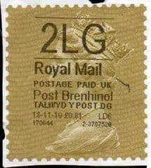 2010 '2LG' POST BRENHINOL GOLD TYPE I LABEL (HYPHEN SEPERATED DATE)