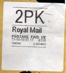 2010 2PK 'ROYAL MAIL' WHITE LABEL (HYPHEN SEPERATED DATE)