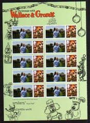 2010  60P 'CHRISTMAS WITH WALLACE AND GROMIT WITH PERSONALISED TAB ( HALF SHEET OF 10)