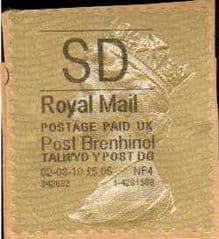 2010 'SD' POST BRENHINOL GOLD TYPE I LABEL
