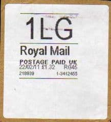 2011 '1LG' ROYAL MAIL WHITE LABEL (RG45)