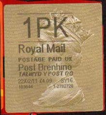 2011 1PK 'POST BRENHINOL TYPE II(MISSING 'L') FINE USED