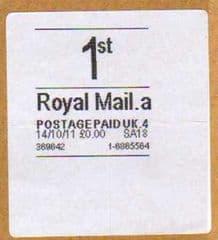 2011 '1st' ( A 4) (£0.00) 'WHITE HORIZON LABEL'