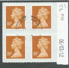 2011 BLOCK OF 4 X 10P U/M ' SECURITY MACHIN'(NO BACKGROUND)(+ DATE MARGIN)  FINE USED