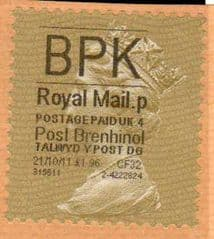 2011 'BPK 'POST BRENHINOL' GOLD PERF (LATE USE)