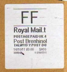 2011 FF(T 4)(£0.00) POST BRENHINOL WITH CODES