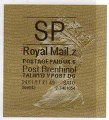2011 'SP'( Z 6) 'POST BRENHINOL' GOLD PERF