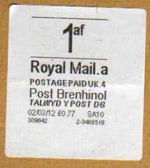 2012 1af (£0.77) POST BRENHINOL (RARE LATE USE)